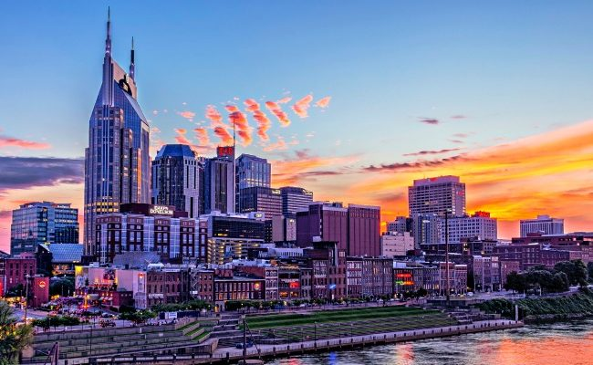 Downtown Nashville at Dusk from Pedestrian Brige